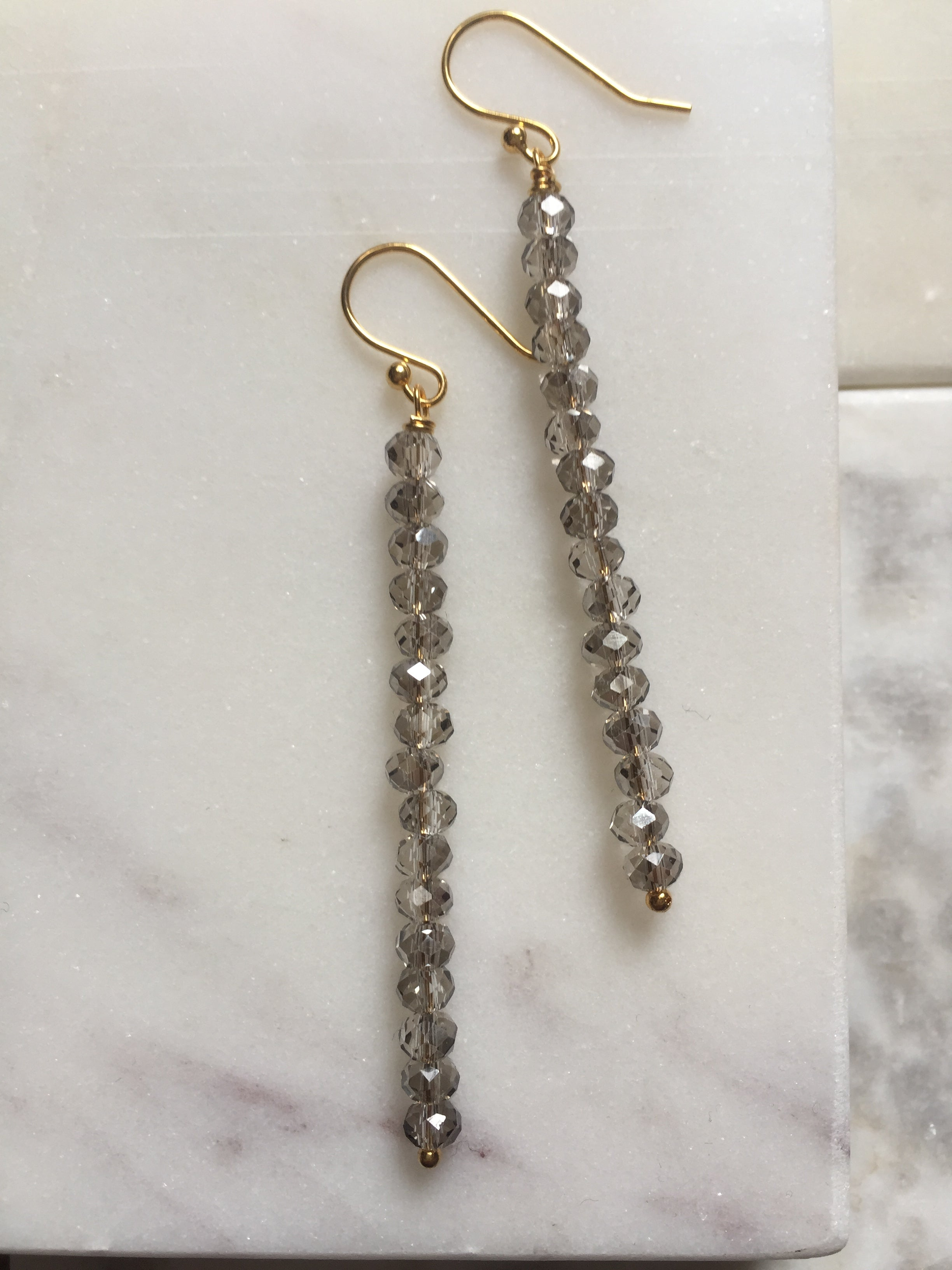 Diamond Crystals + Stick Long Earrings