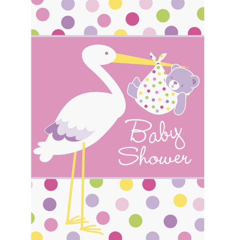 Baby Girl Stork Baby Shower Invitations
