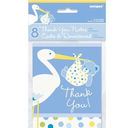 Baby Boy Stork Thank You Notes 8pk