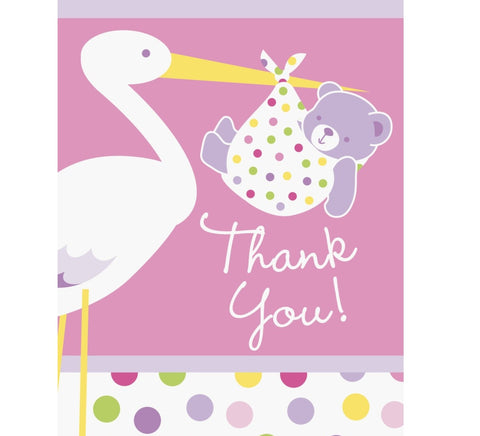 Baby Girl Stork Thank You Notes 8pk