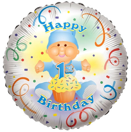 "Happy 1st Birthday BOY 18"" Foil Balloon"