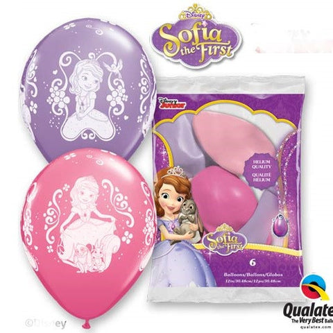 "Latex 12"" Disney Sofia the First Balloons 6ct"