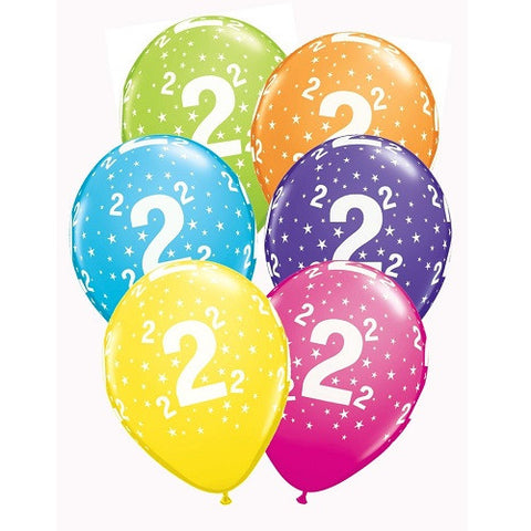 "Latex 11"" Age 2 Asst. Colour Latex 11"" Balloons 6pk"