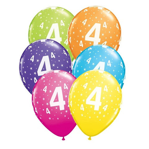 "Latex 11"" Age 4 Asst. Colour Latex 11"" Balloons 6pk"