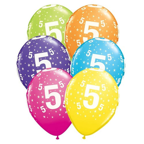 "Latex 11"" Age 5 Asst. Colour Latex 11"" Balloons 6pk"