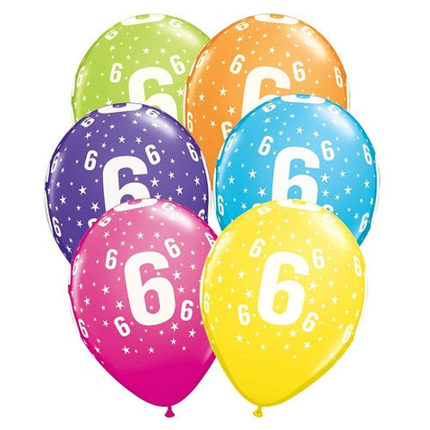 "Latex 11"" Age 6 Asst. Colour Latex 11"" Balloons 6pk"