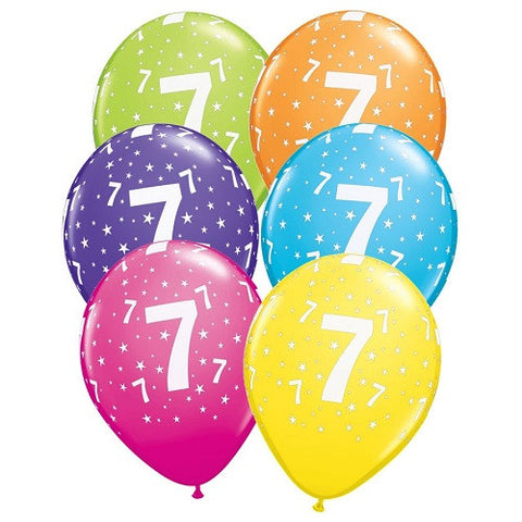 "Latex 11"" Age 7 Asst. Colour Latex 11"" Balloons 6pk"