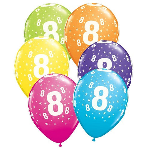 "Latex 11"" Age 8 Asst. Colour Latex 11"" Balloons 6pk"