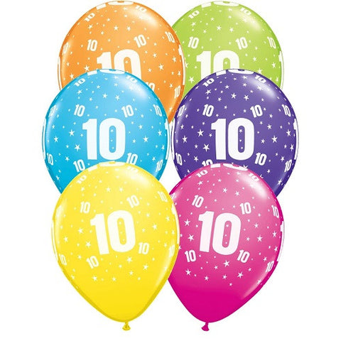 "Latex 11"" Age 10 Asst. Colour Latex 11"" Balloons 6pk"
