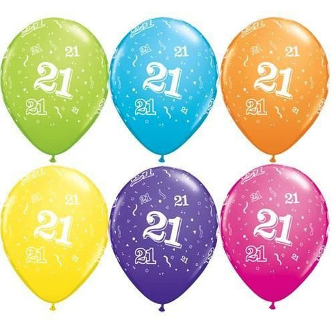 "Latex 11"" Age 21 Asst. Colour Latex 11"" Balloons 6pk"