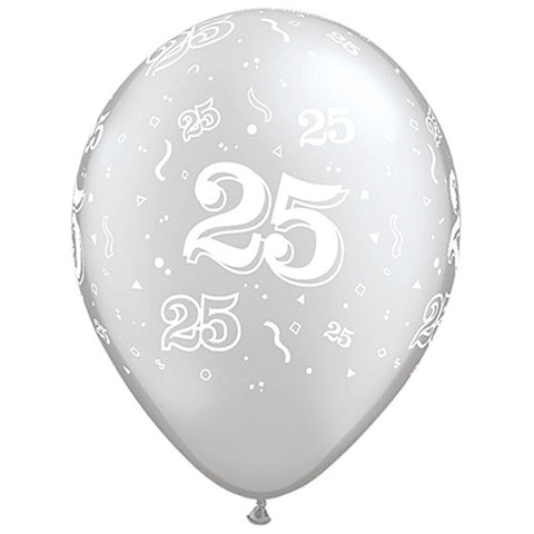 "Latex 11"" Age 25 Asst. Colour Latex 11"" Balloons 6pk"