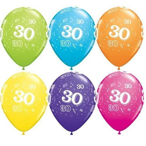 "Latex 11"" Age 30 Asst. Colour Latex 11"" Balloons 6pk"