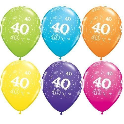 "Latex 11"" Age 40 Asst. Colour Latex 11"" Balloons 6pk"