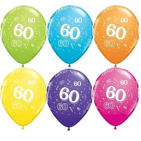 "Latex 11"" Age 60 Asst. Colour Latex 11"" Balloons 6pk"