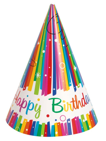 Rainbow Ribbons Happy Birthday Party Hats 8ct Prestige Supplies