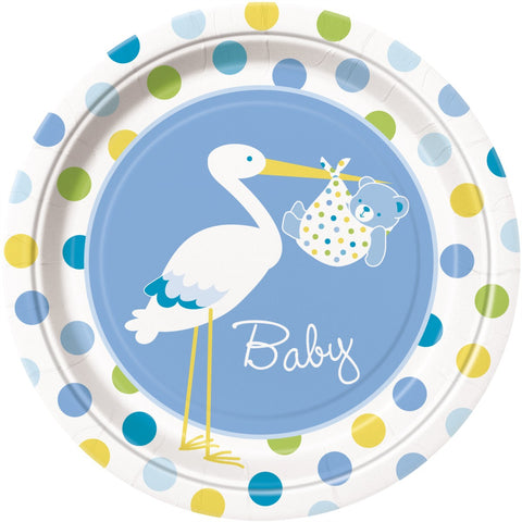 Baby Boy Stork Party Paper Plates 8ct