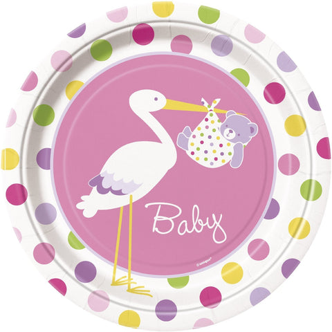 Baby Girl Stork Party Paper Plates 8ct