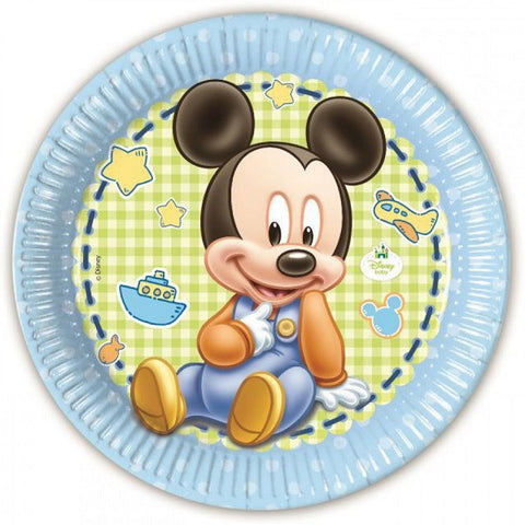 Baby Mickey Party Paper Plates 8ct