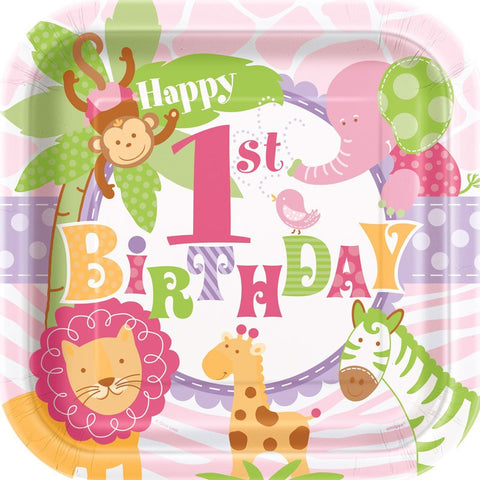 1st Birthday Pink Safari Party Paper Plates 8ct
