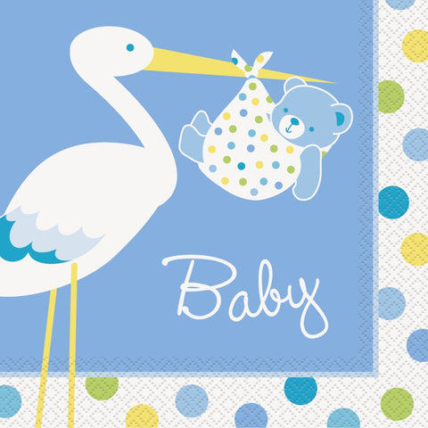 Baby Boy Stork Party Serviettes