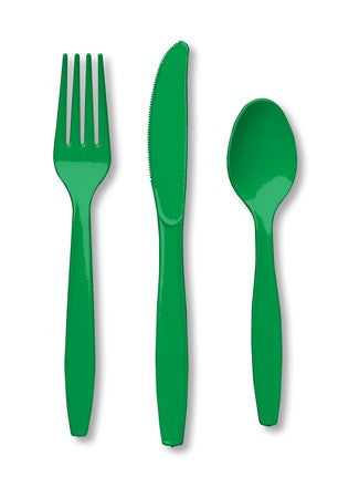 Emerald Green Assorted Premium Plastic Cutlery 24ct