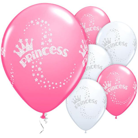 "Latex 11"" Glitter Princess Balloons 25ct"