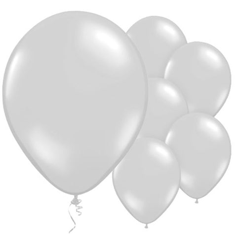 "Latex 11"" Metallic Silver Balloons 10ct"