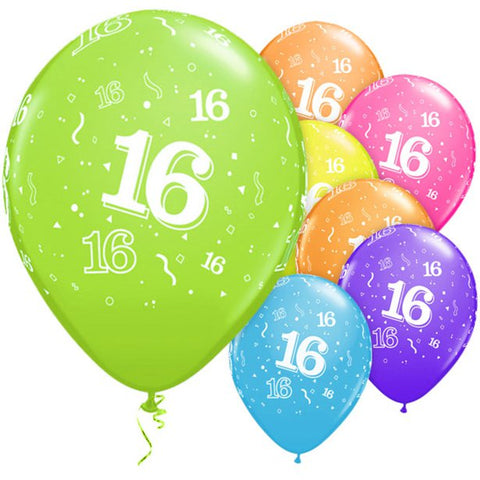 "Latex 11"" Age 16 Asst. Colour Balloons 6pk"