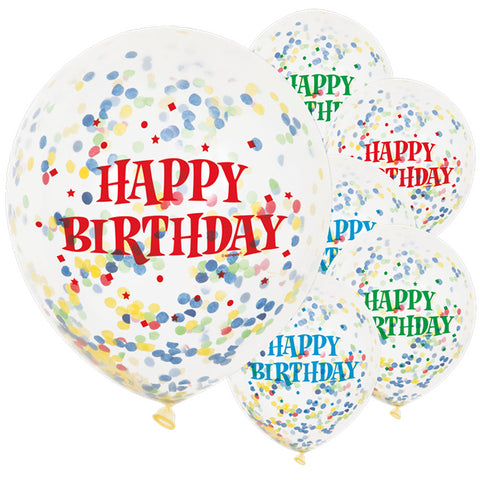 "Latex 12"" Happy Birthday Bright Confetti Balloons 6ct"