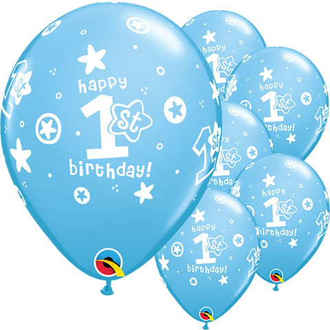 Latex 11' 1st Birthday Boys Stars Blue Balloons 25ct