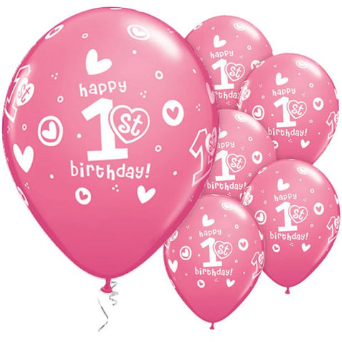 Latex 11' 1st Birthday Girls Hearts Pink Balloons 25ct
