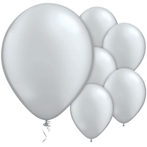 "Latex 11"" Metallic Silver Balloons 25ct"