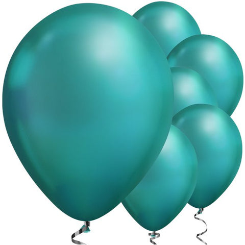 "Latex 11"" Green Chrome Balloons 25ct"