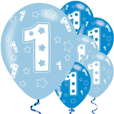 "Latex 11"" 1st Birthday Blue Balloons 6ct"