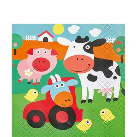 Farm Fun Paper Party Serviettes 20ct