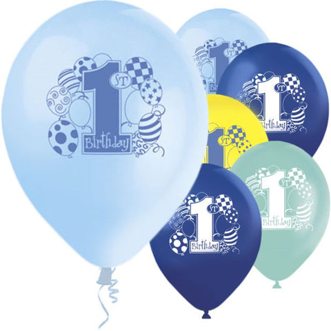 "Latex 12"" 1st Birthday Blue Balloons 8ct"