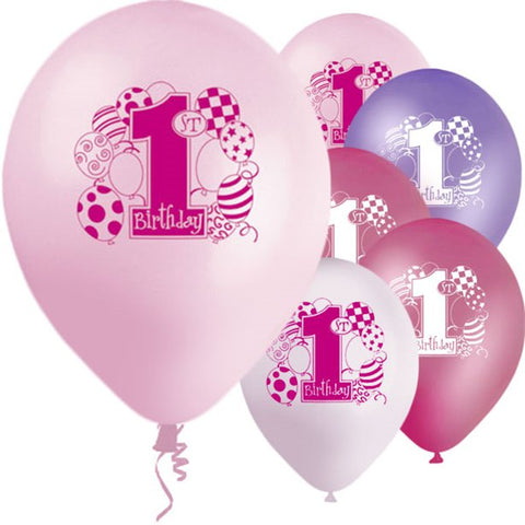 "Latex 12"" 1st Birthday Pink Balloons 8ct"