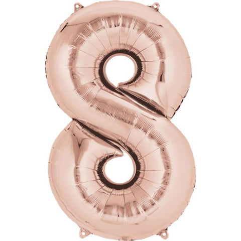 "Rose Gold Number 8 Balloon - 34"" Foil"