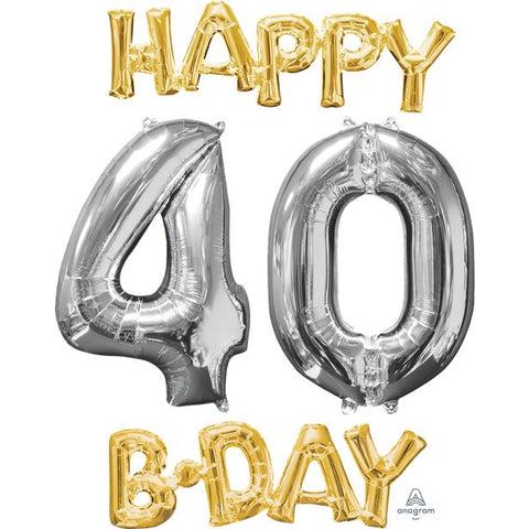 'Happy 40th Birthday' Gold & Silver Foil Balloons