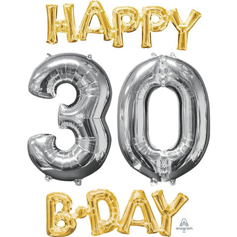 'Happy 30th Birthday' Gold & Silver Foil Balloons