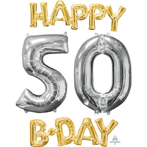 'Happy 50th Birthday' Gold & Silver Foil Balloons