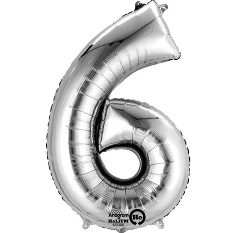 "Silver Number 6 Balloon - 16"" Foil"