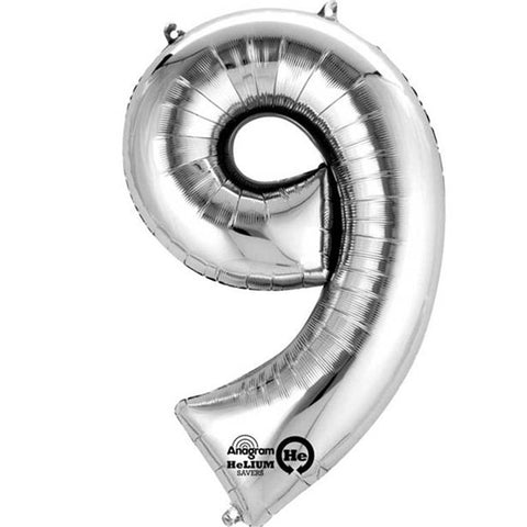 "Silver Number 9 Balloon - 16"" Foil"