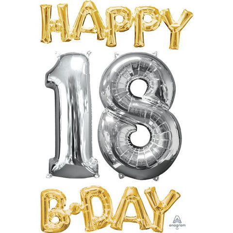 'Happy 18th Birthday' Gold & Silver Foil Balloons