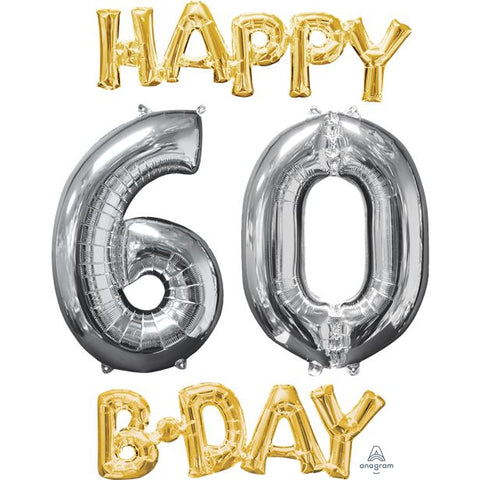 'Happy 60th Birthday' Gold & Silver Foil Balloons