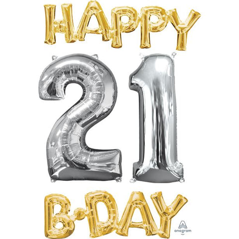 'Happy 21st Birthday' Gold & Silver Foil Balloons