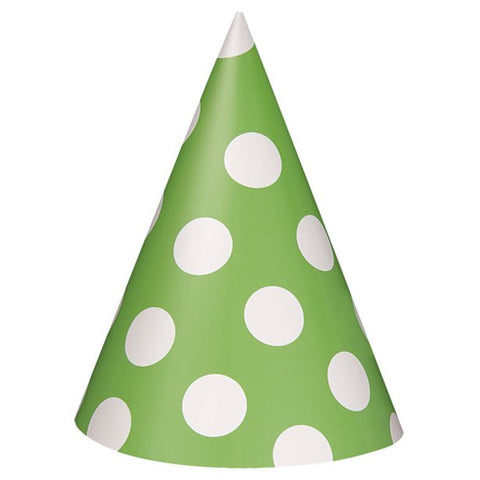 Green Polka Dots Party Hats 8ct