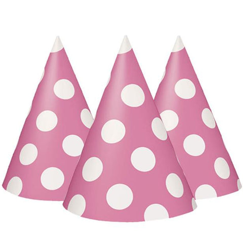 Pink Polka Dots Party Hats 8ct