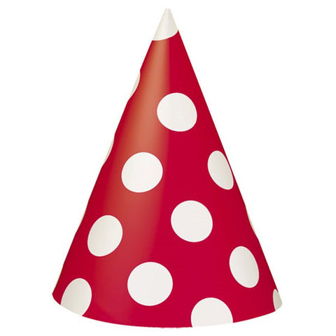 Red Polka Dots Party Hats 8ct