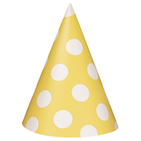 Yellow Polka Dots Party Hats 8ct